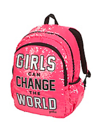 NWT JUSTICE Girls Sequin Backpack Rucksack Girls Can Change The World