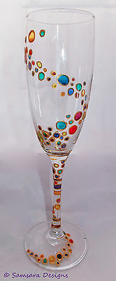 Swirling Rainbow Bubbles Champagne Prosecco Glasses Wedding Engagement Hen party
