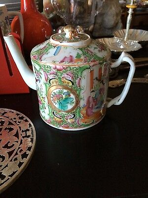 Early 19thC Antique Chinese Famille Rose Mandarin Teapot w/ Bud Finial