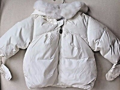 Baby Dior Ivory White Padded Jacket With Fur Trim Hood 3 Months