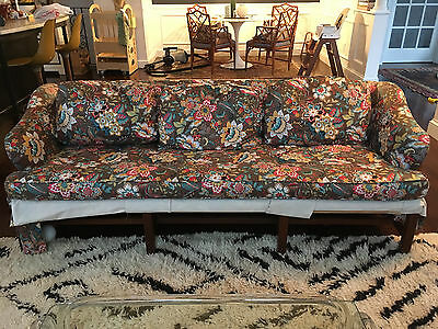 Vtg Mid Century Modern /Hollywood Regency Chippendale Style Baker Bench Leg Sofa