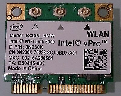 Intel vPro 5300 533AN HMW Half Mini WLAN Wireless for notebooks Dell P/N 0N230K