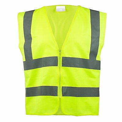 ANSI/ ISEA Standard CLASS 2 Solid Mesh HI Vis Reflective Safety Vest with Zipper