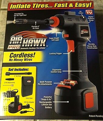 NEW Air Hawk PRO Automatic Cordless Tire Inflator As Seen On TV