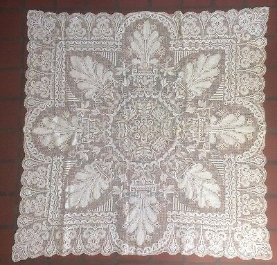 Antique Square Knotted Lace Cloth For Card Table Size Ecru And White See