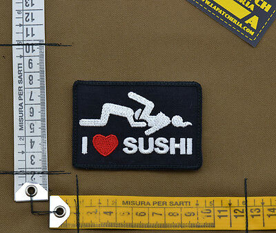 "Ricamata / Embroidered Patch ""I Love Sushi"" with VELCRO® brand hook"