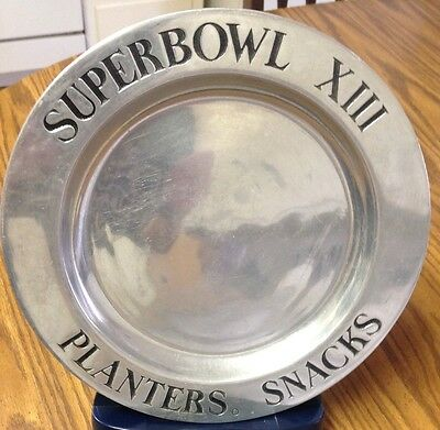 Planters peanut 1979 Super Bowl XIII 13 Pewter Snack Tray/Plate