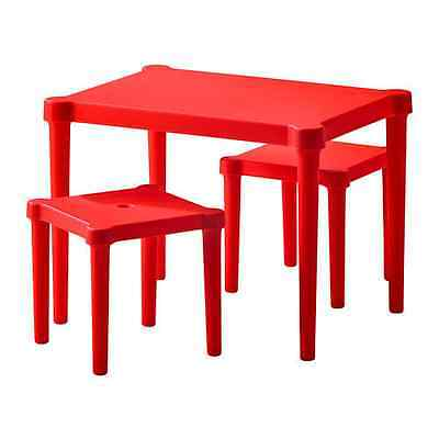 IKEA UTTER Childrens Table With 2 Stools For In/Outdoor LIGHT WEIGHT RED
