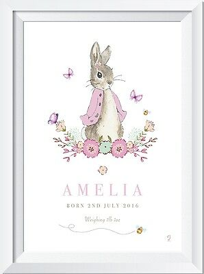 Personalised Peter Rabbit baby name LASER SW CRYSTAL PRINT christening gift