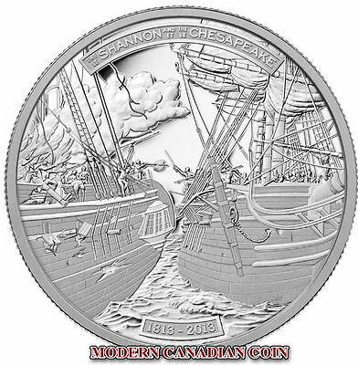 CANADA $50 - 5 oz PURE SILVER COIN- THE SHANNON AND THE CHESAPEAKE- RCM 2013