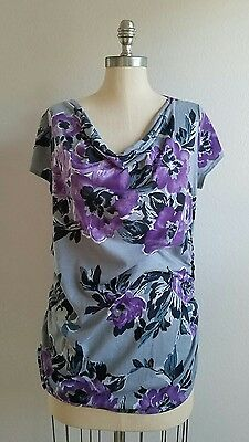 Oh Baby by Motherhood Floral Print Maternity Shirt Size Large