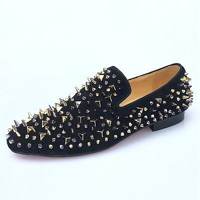 Handmade Men Black Leather Slippers Loafers with Gold Spikes Dress Shoes Flats