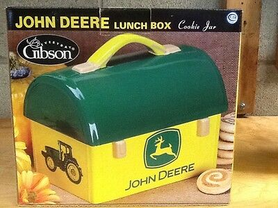 Gibson Ceramic John Deere Large Dome Top Lunch Box  Cookie Jar Mint In Box