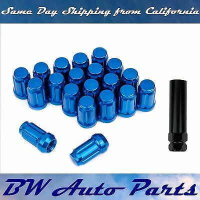 20 PCs Blue Spline Lug Nuts with Key M12x1.5 Cone Seat Long Closed End
