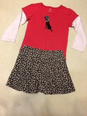 Gymboree 2pc Outfit, Size 4/5 Girls Leopard Print Corduroy Skort & Dog Shirt,GUC