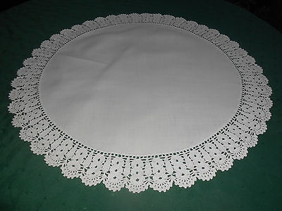 Round White Linen Doily Or Table Topper With Hand Crochet Lace, Circa 1930