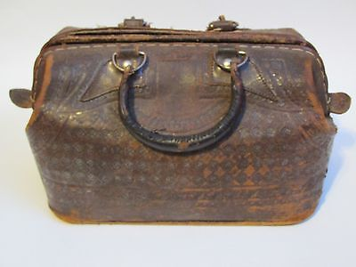 Vintage Mexican Doctors Medical Bag Satchel Tooled Leather Carrying Case