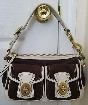 Coach Brown Canvas Satchel with Cream Leather Trim and multicolor lining M0669-1