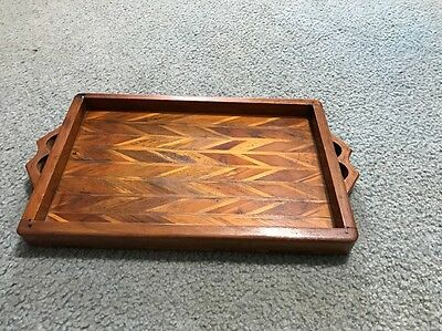 "Vintage wooden tray, Very Neat Colors, Patterned 16"" Long Rare Item!"