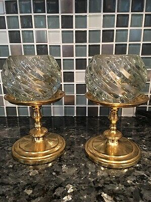 "2 Partylite Falmouth 3 1/2"" Brass Holders & Illusions Votive Glass Holders"