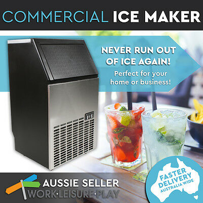 Commercial Ice Maker Portable Cube Machine Automatic Home Business 45~60KG/Day
