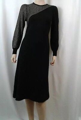1970's Vintage HALSTON Black and Gold Deco Mohair Dress