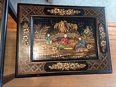 Asian antique, hand painted with gold, three black stacking tables, wood