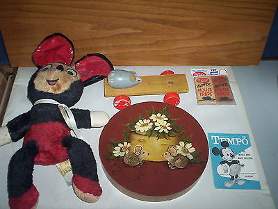 5 Vintage Mouse Mice Collectables: McGill Traps + Pull Toy + Mickey + Plush Ganz