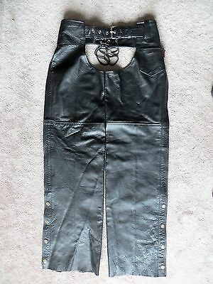 """Black Leather Motorcycle Chaps   XS  30-36  X  32""""  or shorter when cut off"""