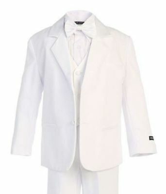 Boys White Formal Tuxedo Suit (Sizes 2T - 14), Kids Formal Wear, Bow Tie - New