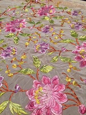Vintage 1920's Embroidered Piano Shawl