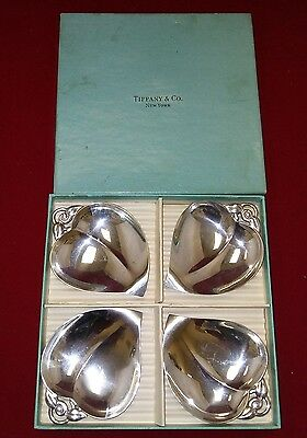 VTG Tiffany Sterling Silver Heart Leaf Shaped Candy Nut Dishes (4) 22886