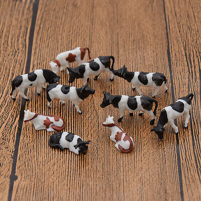 10 Pcs 1:87 Scale Model Painted Multi Color Farm Animals Cows for Model Railway