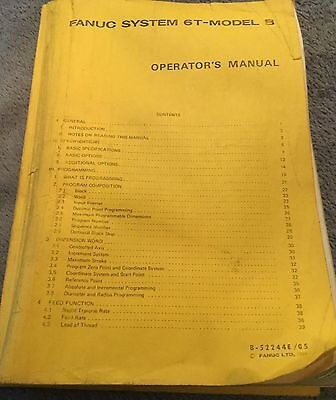 Fanuc model 6T-B Operator's Manuals B-52244E/05 and B-52258E/01