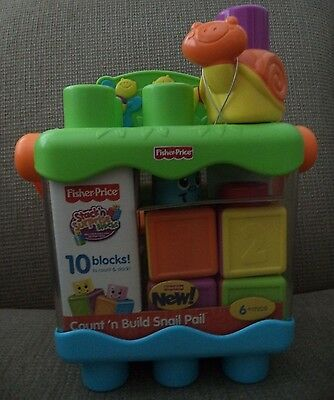 Fisher Price Count N Build Snail Pail Blocks *new*