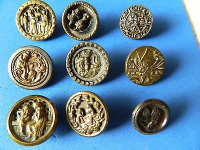 LOT 9 Small Metal Brass Buttons Antique Vtg PICTURE Story CHERUB Theatre ++