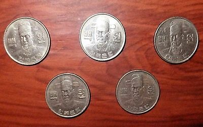 Five South Korean 100 Won Coins - Four 1975 and One 1972 - Ungraded