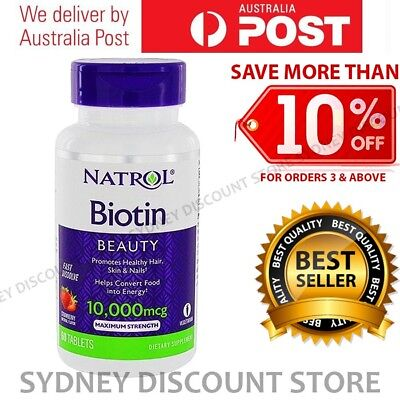 SUPER SALE Natrol Biotin Natural Strawberry Flavor 10,000 mcg 60 - 180 Tabs