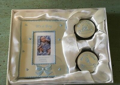 Dicksons It's A Boy 3 Piece Set Silver Frame Tooth Box Curl Box