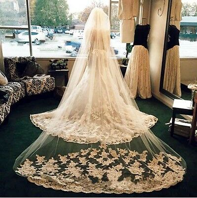 New light Ivory Beautiful Cathedral Length Lace Wedding Bridal Veil With Comb