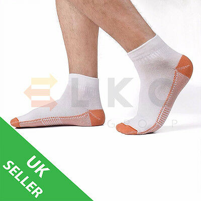 Copper Infused Compression Ankle Sport Socks Anti-Fatigue Black or White