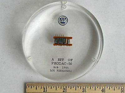 Westinghouse PRODAC-50 Computer Advertising Lucite Paperweight 1964
