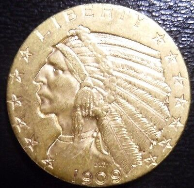 1909-D~~ $5 Gold Indian Half Eagle - Beautiful Coin
