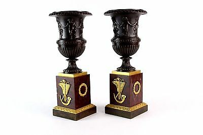 Pair of Neoclassical French Empire Style Bronze Urns With Red Marble Stone Bases