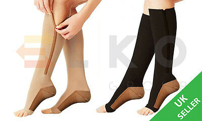 PAIR OF ZIP UP COPPER INFUSED COMPRESSION/FLIGHT/SUPPORT SOCKS in BEIGE or BLACK