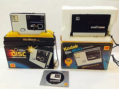 2 Vintage Kodak Disc Cameras in Orig. Boxes 4000, 4100, Excellent, Free Shipping