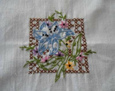 Vintage Table Runner Tray Doily Blue Hand Embroidered Lilies Floral Crochet Lace