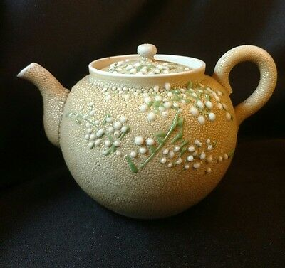 Meiji Period Japanese Moriage Sharkskin Pottery Teapot Orange Peel  Glaze