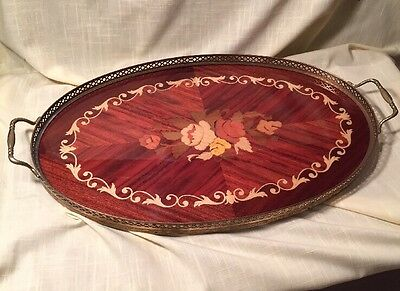 Vintage Italian Inlaid Wood Tray with Flowers & Gallery Brass Upper Surround