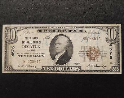 Series 1929 $10 Dollar National Currency 4576 Citizens NB Decatur, IL C489C